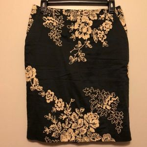 J Crew Embroidered Pencil Skirt